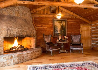 Cozy fireside at Honey Hollow Ranch